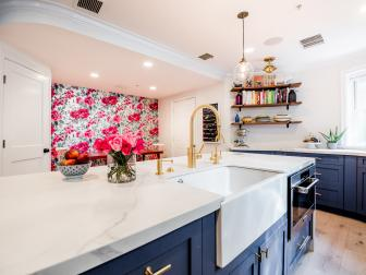 Eclectic Kitchen With Rose Wallpaper