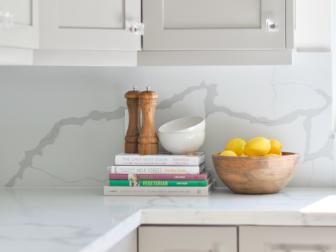 Kitchen Countertop With Cookbooks