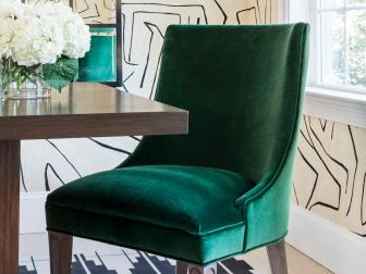 Dining Room With Green Velvet Dining Chair