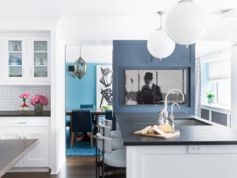 Eat-in-Kitchen With White Cabinets