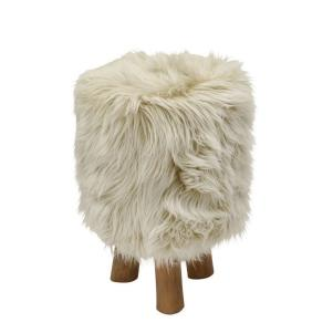 Attractive Wood/Faux Fur Stool