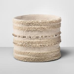 Cream Tufted Embellished Basket