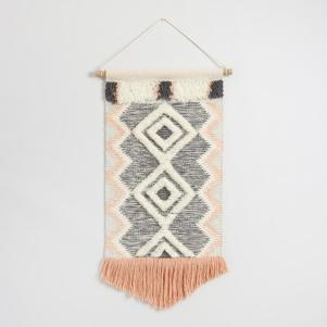Coral and Gray Fringed Wall Hanging