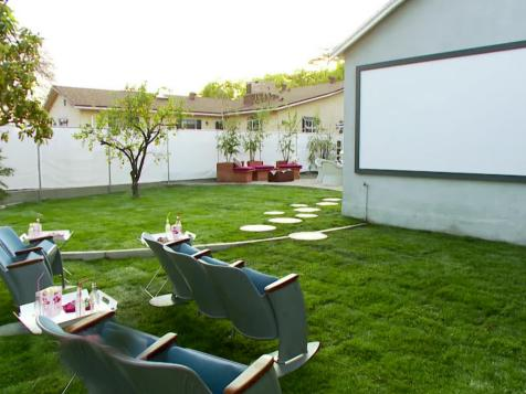 Backyard Makeover with Outdoor Movie Theater